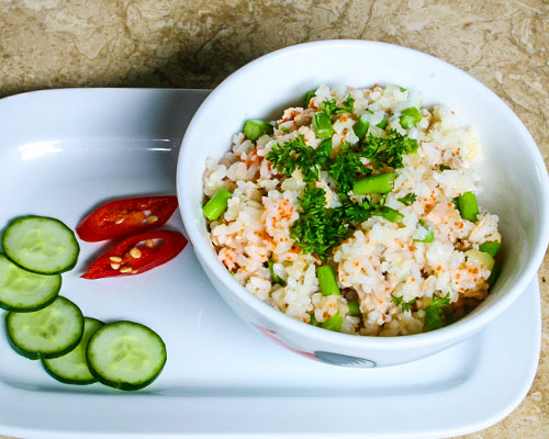 FRIED RICE WITH TUNA, ASPARAGUS AND CRAB ROE